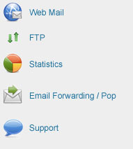 FTP, webmail, Stats, Email POP/forwarding, Tech Support